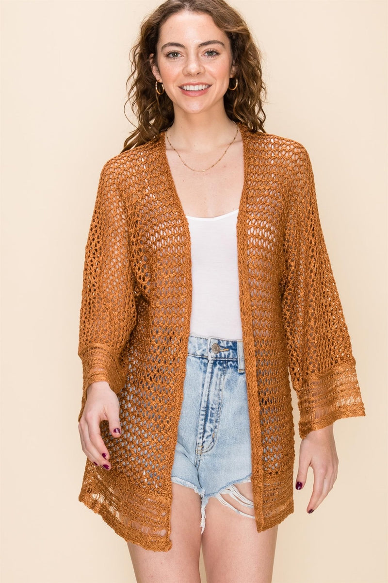 CROCHET CARDIGAN - AVAILABLE IN APRICOT, SAND AND BLACK - RETAIL STORE
