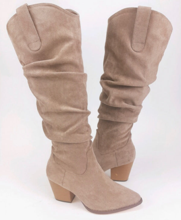 KNEE HIGH FAUX SUEDE SLOUCHY BOOT - TAUPE & BLACK - RETAIL STORE