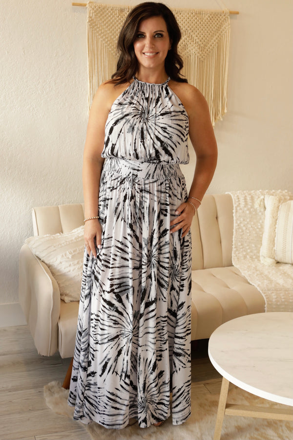DOUBLE SLIT TIE DYE MAXI DRESS  -  BLACK/GREY