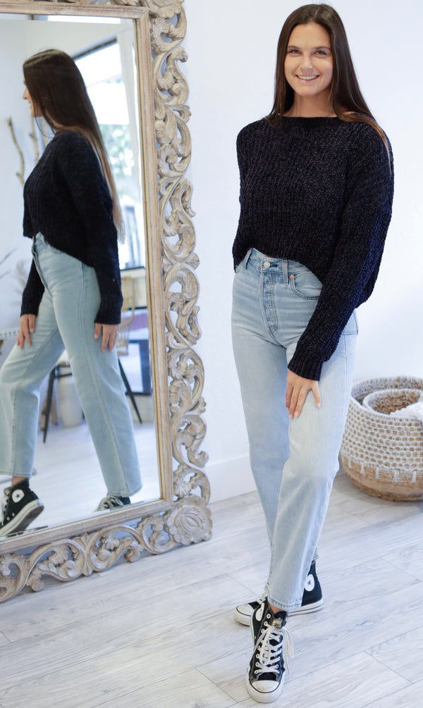 WIDE NECK CROPPED CHENILLE SWEATER - TAUPE & NAVY - RETAIL STORE