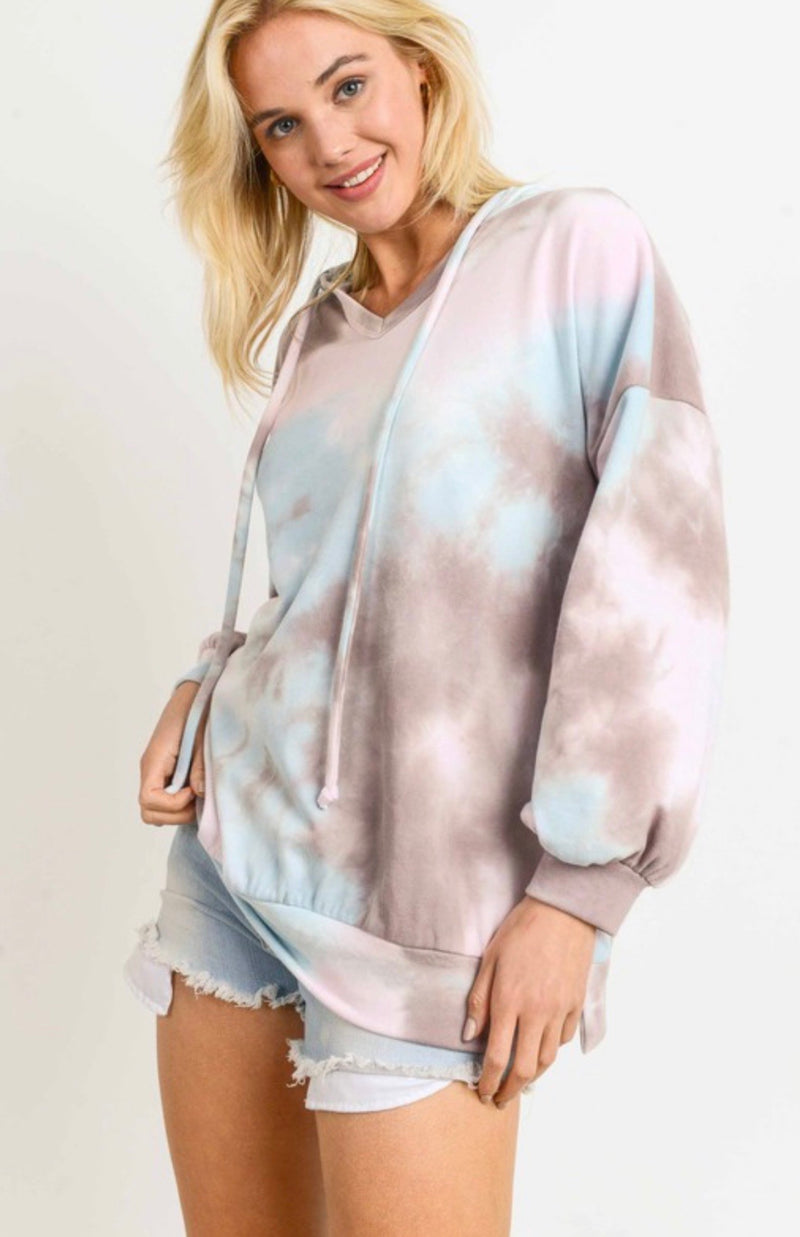 Tie Dye Lightweight Hooded Sweatshirt - Grey/Light Blue - Retail Store
