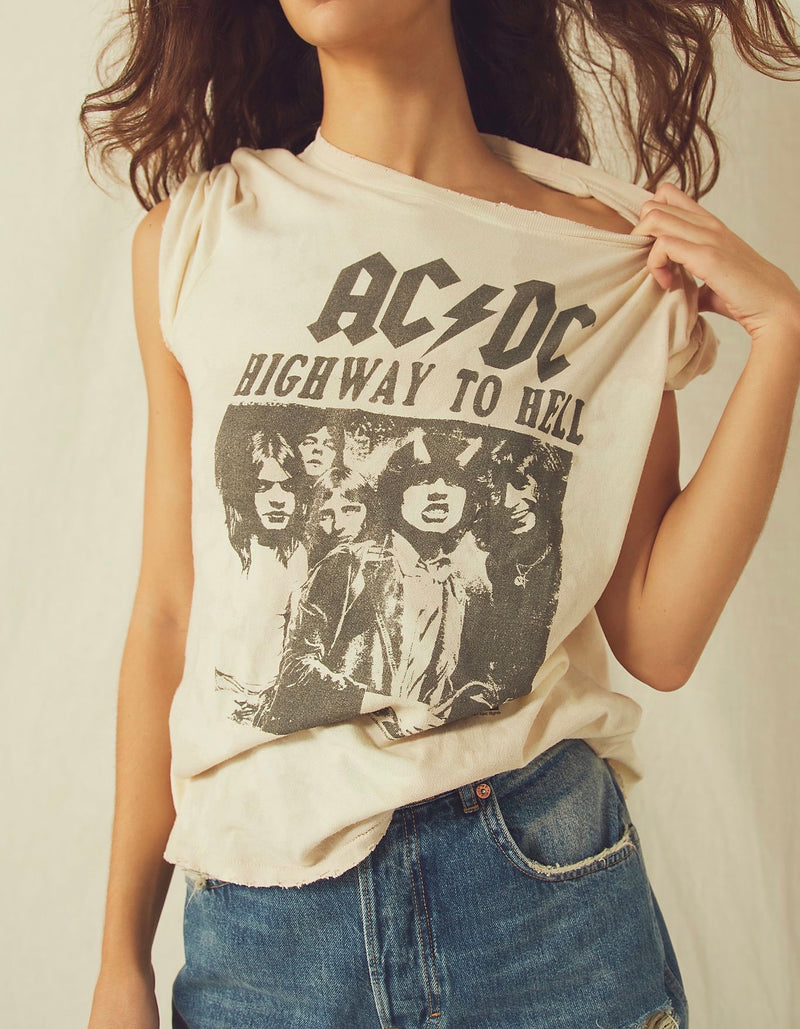 JUNK FOOD AC/DC VINTAGE DISTRESSED TEE - BIRCH BLEACH DYE - RETAIL STORE