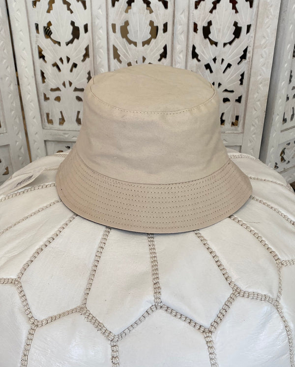 CANVAS BUCKET HAT - TAN & TAN/BUTTERFLY
