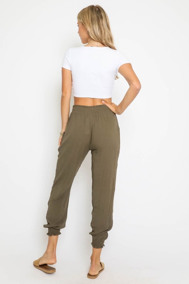 SMOCKED WAIST JOGGERS - AVAILABLE IN BLACK AND OLIVE - RETAIL STORE