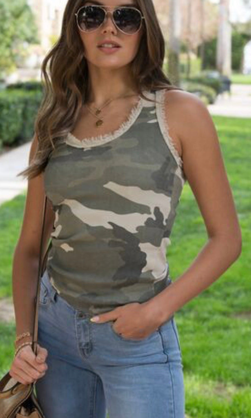 RIBBED CAMO TANK TOP - BEIGE - RETAIL STORE