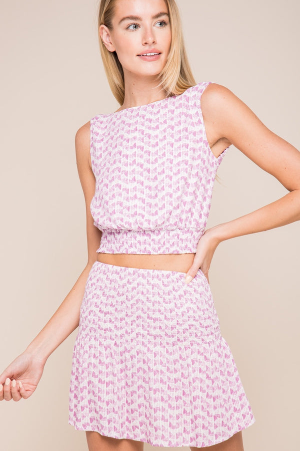 BOHO PRINT SLEEVELESS OPEN BACK CROP TOP - ORCHID BLOOM - RETAIL STORE