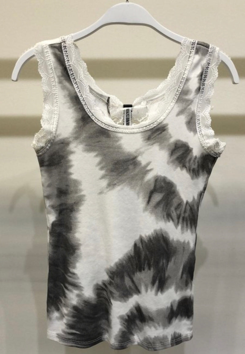 RING TIE DYE BACK LACE TANK TOP - GREY, TURQUOISE AND CAMEL - RETAILS STORE