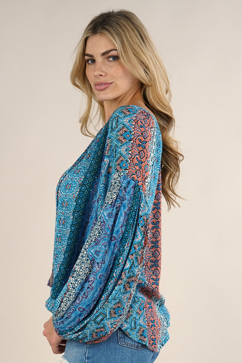 MARRAKESH PRINT BLOUSE - BLUE MULTI- RETAIL STORE