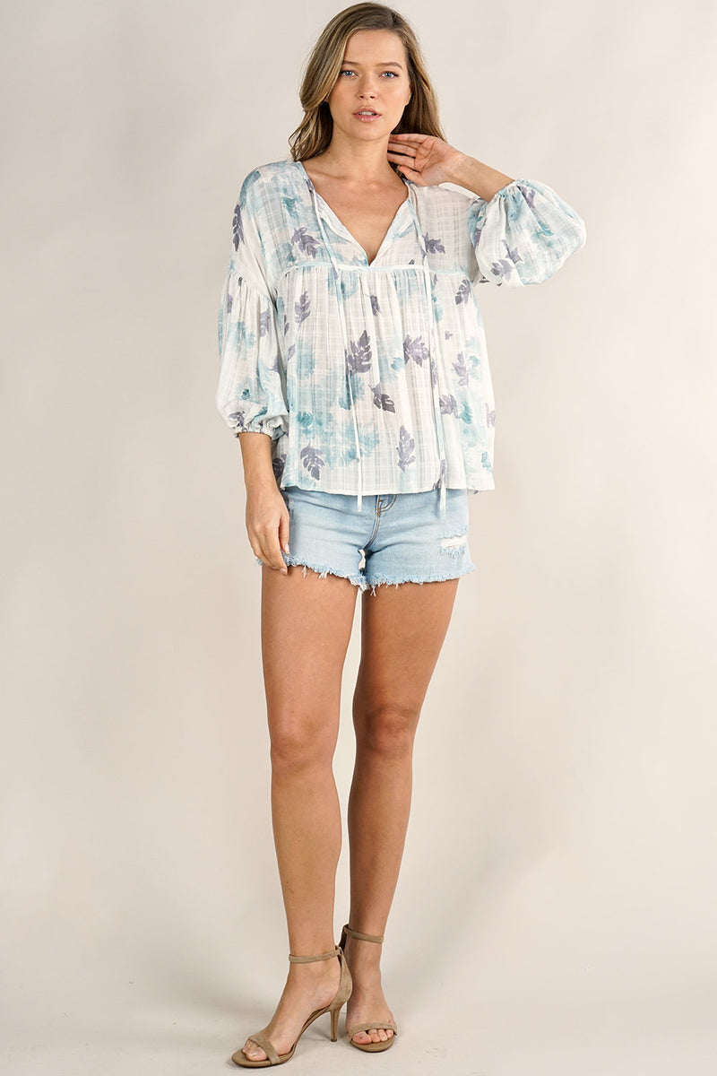 FLORAL PRINT 3/4 SLEEVE BLOUSE - RETAIL STORE
