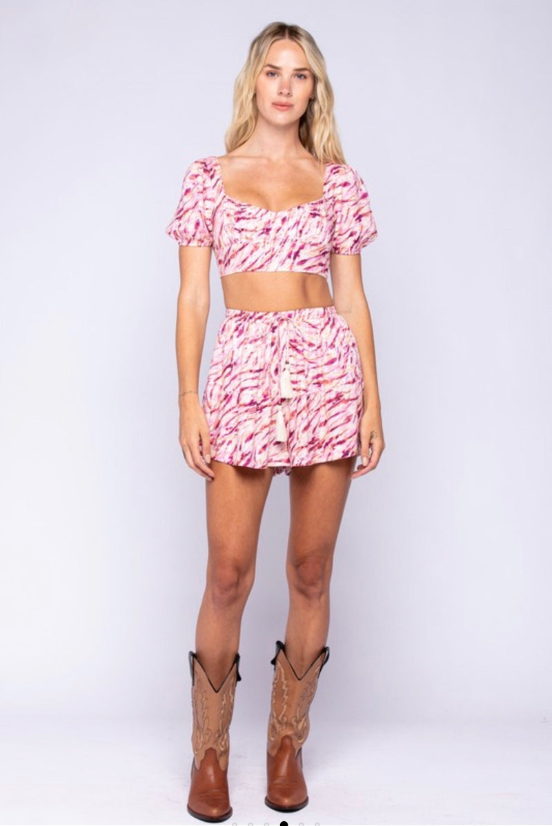 BOHO PRINT SHORT SLEEVE CROP TOP - PINK BERRY- RETAIL STORE