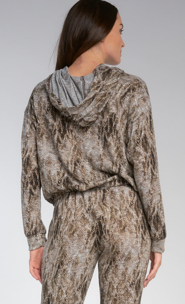 SNAKE PRINT HOODIE WITH TIE WAIST - TAUPE - RETAIL STORE