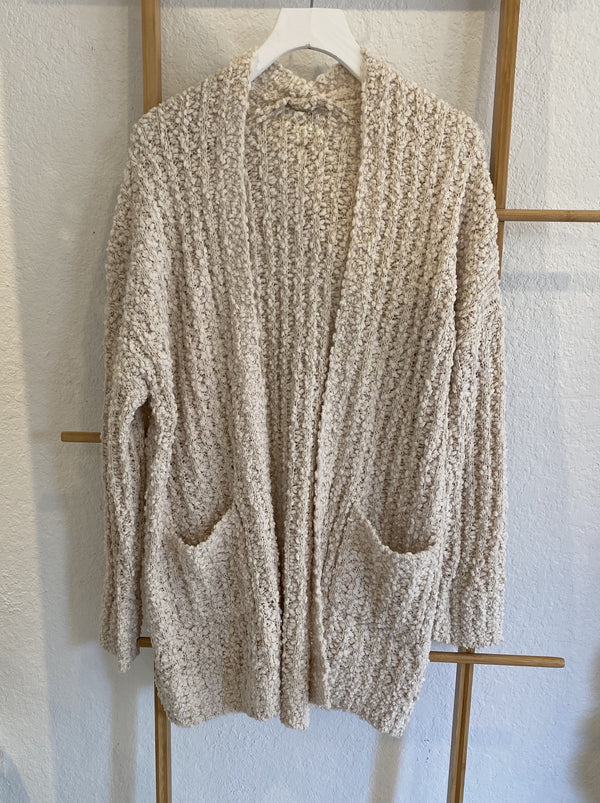 POPCORN KNIT CARDIGAN WITH POCKETS - IVORY - RETAIL STORE