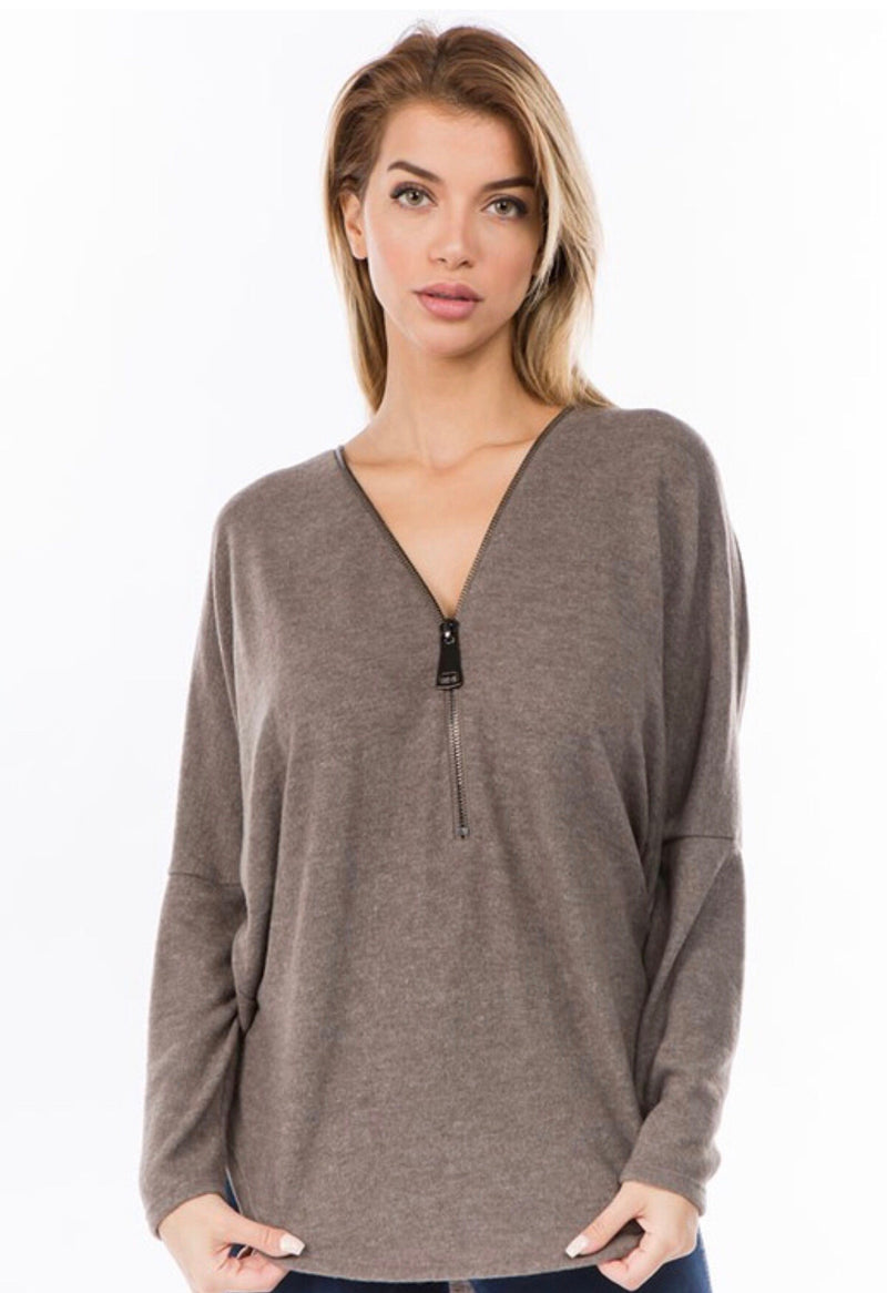 DOLMAN SLEEVE ZIPPER TOP - SAGE AND TAUPE - RETAIL STORE