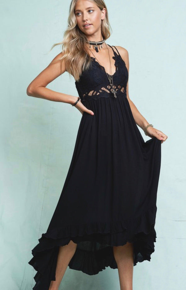 BOHO CROCHET LACE TRIM DRESS - BLACK - RETAIL STORE