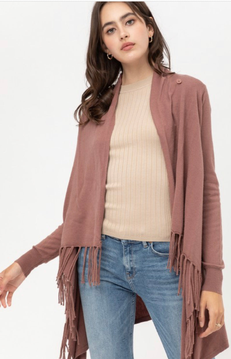 FRINGED PONCHO WRAP CARDIGAN - OATMEAL, HEATHER GREY, LIGHT CLAY, BLACK & MAUVE  - RETAIL STORE