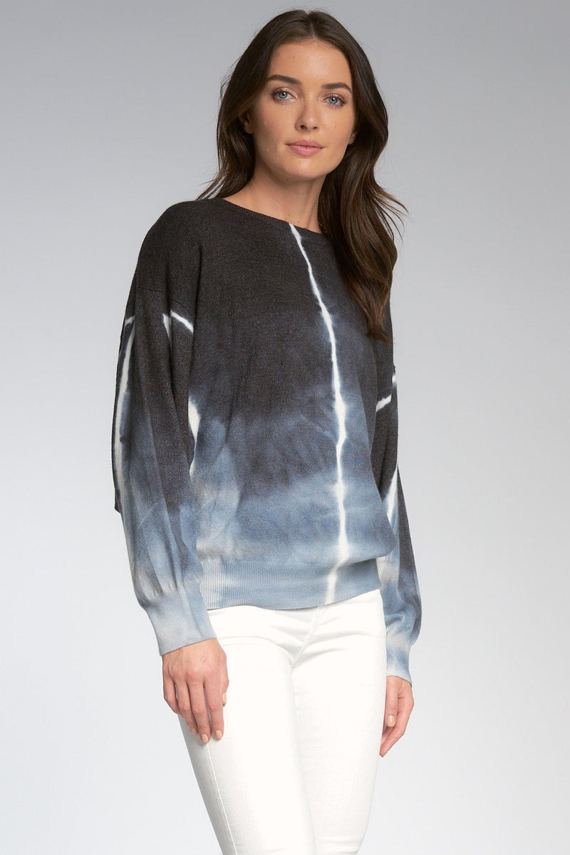 TIE DYE CREW NECK SWEATER - BLACK & BLUE - RETAIL STORE
