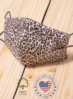 FACE MASK W/ POCKET FOR FILTER - LEOPARD - RETAIL STORE
