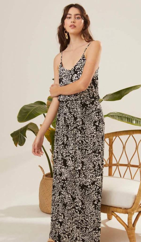 ANIMAL PRINT MAXI TANK DRESS - BLACK/CREAM