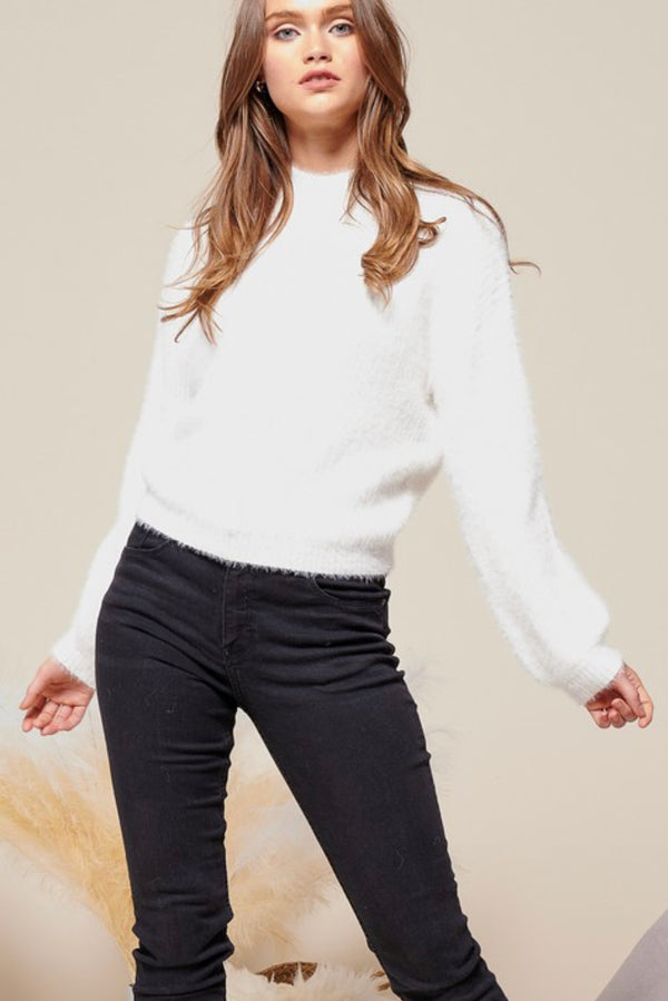 MOCK NECK SWEATER - IVORY - RETAIL STORE