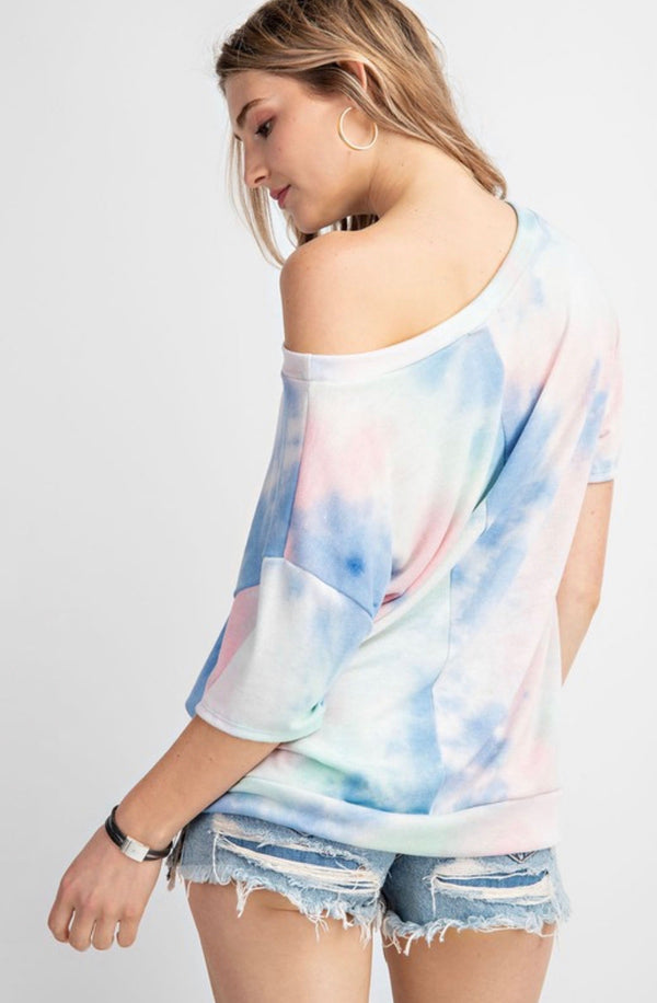 TIE DYE LOUNGE TEE - AVAILABLE IN PINK DENIM & PEACH CORAL - RETAIL STORE