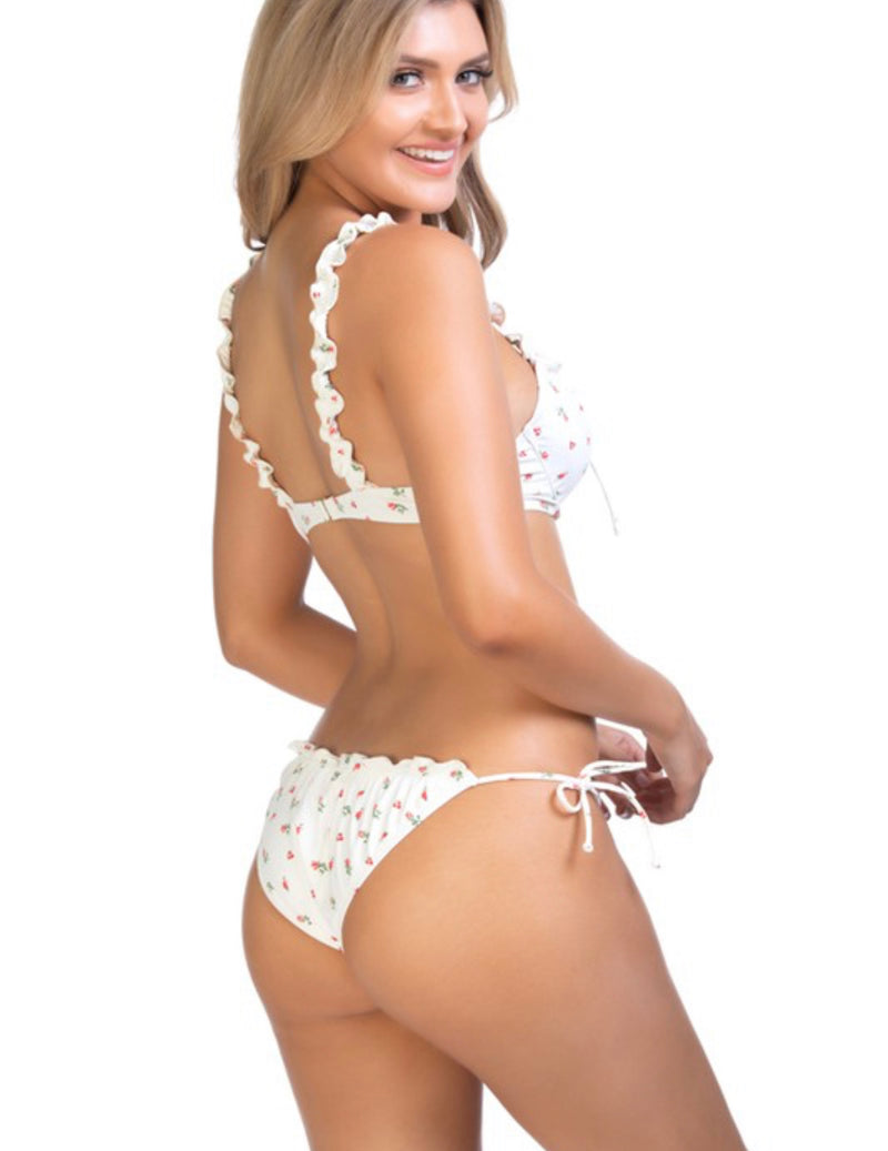 RUFFLE ACCENT BIKINI TOP ONLY - CREAM/FLORAL - RETAIL STORE