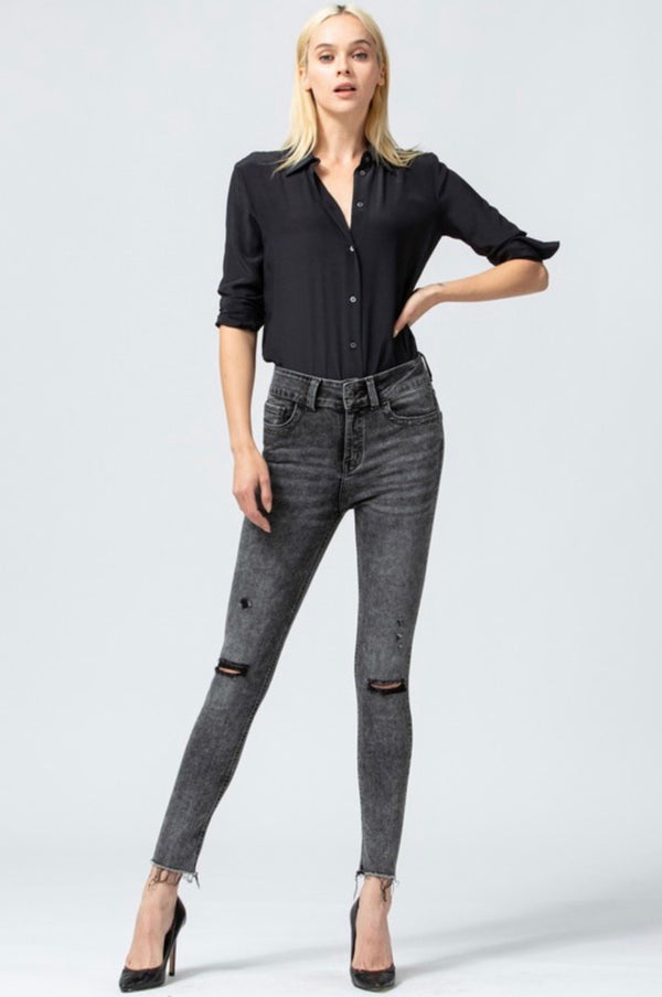 HIGH RISE ACID WASH ANKLE SKINNY JEAN - BLACK - RETAIL STORE