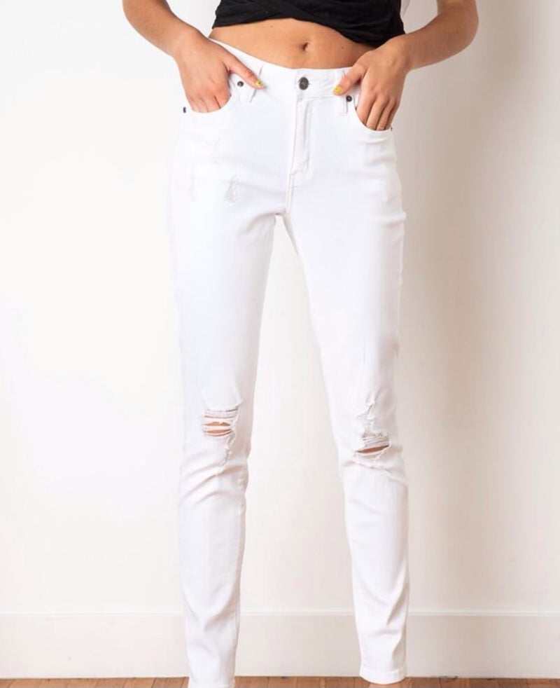 MID RISE SUPER SKINNY JEANS - WHITE