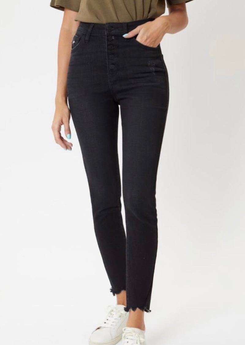 SUPER HIGH RISE DISTRESSED HEM SKINNY JEAN - BLACK - RETAIL STORE