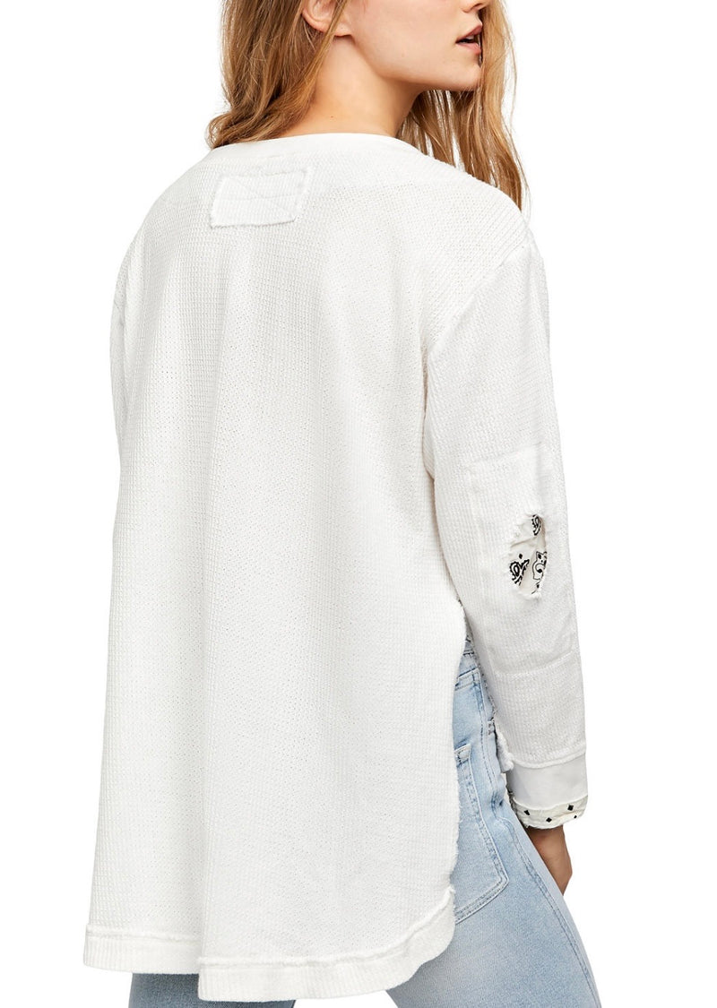 FREE PEOPLE  FALL FOR YOU HENLEY - IVORY - RETAIL STORE