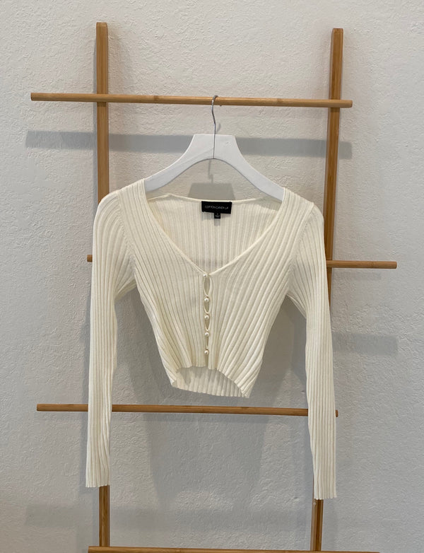 RIBBED CARDIGAN WITH PEARL BUTTONS - IVORY - RETAIL STORE