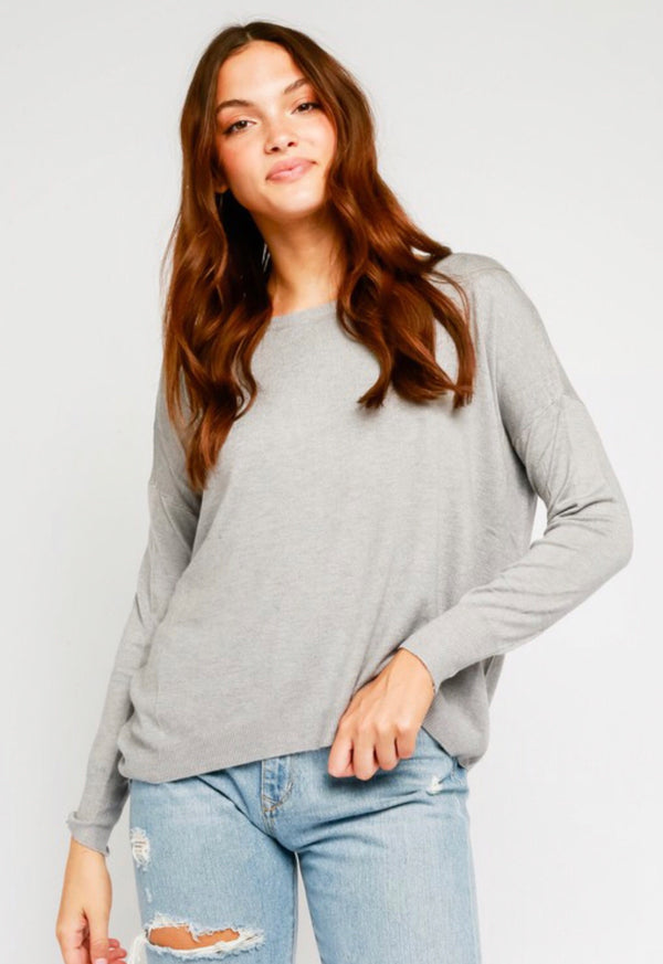 ZIPPER BACK RELAXED SWEATER - H GREY - RETAIL STORE