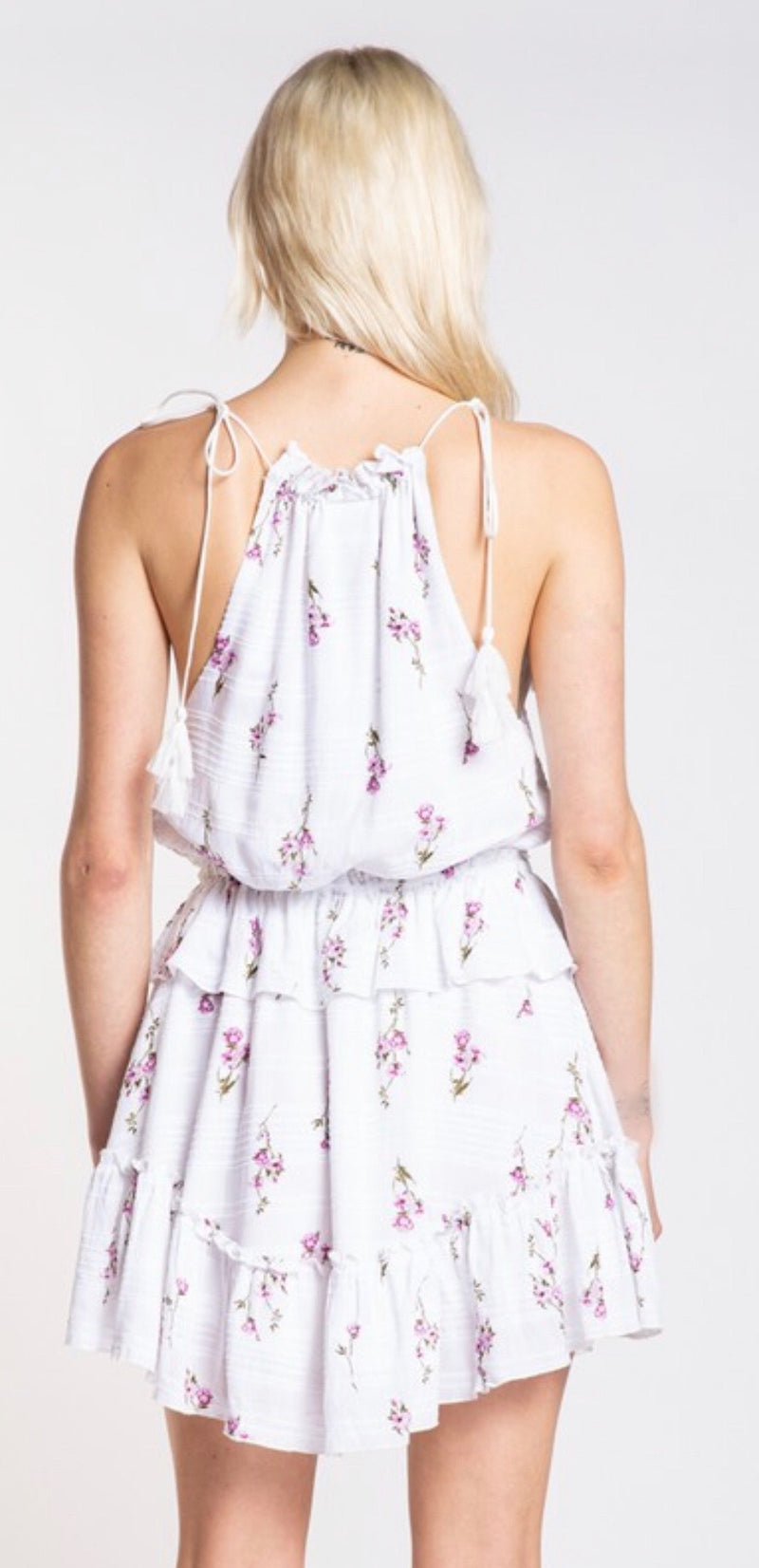 FLOWER PRINT TIED V-NECK RUFFLE MINI DRESS - RETAIL STORE