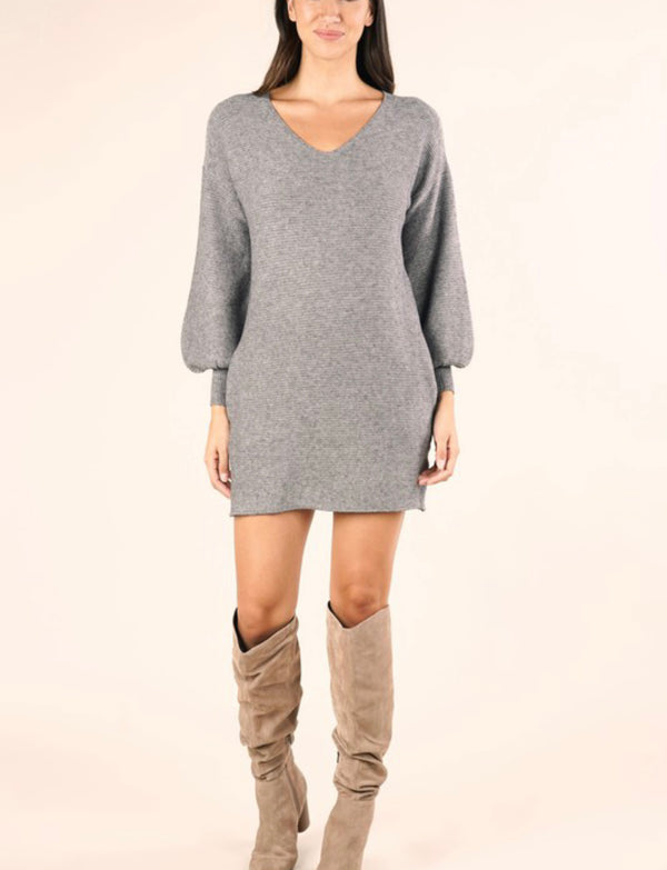 RIBBED V-NECK SWEATER DRESS - HEATHER CHARCOAL - RETAIL STORE