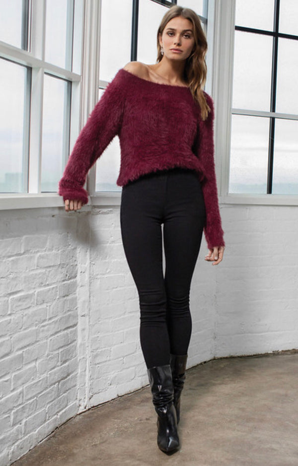 PLUSH KNIT OFF THE SHOULDER PULLOVER SWEATER - MERLOT - RETAIL STORE