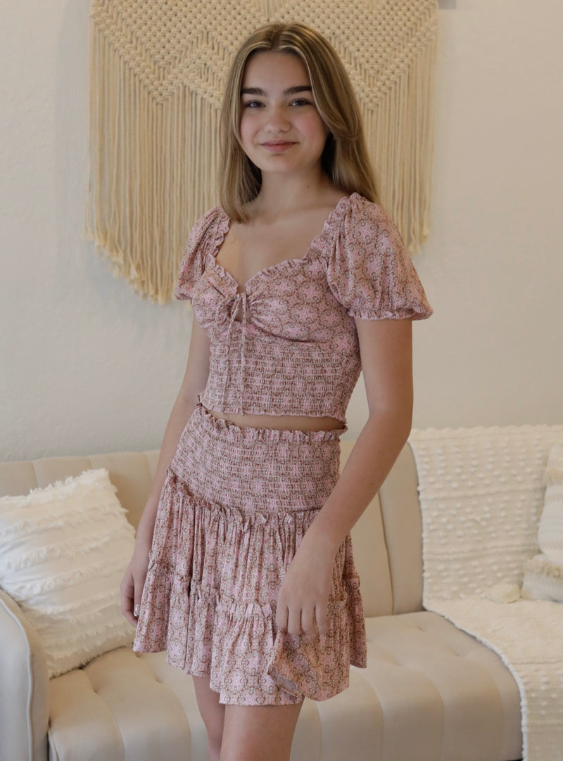 SMOCKED TIERED RUFFLE SKIRT- PEACH PINK