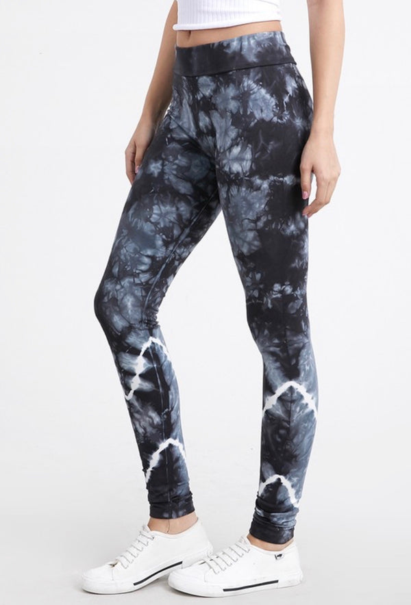TIE DYE LEGGINGS WITH FOLD DOWN WAIST - RETAIL STORE