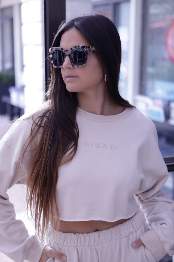 "COZY ""LOS ANGELES"" LOUNGE SWEATSHIRT - BEIGE - RETAIL STORE"