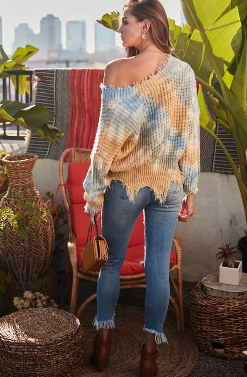 DISTRESSED TIE DYE SWEATER - BLUE/MUSTARD - RETAIL STORE