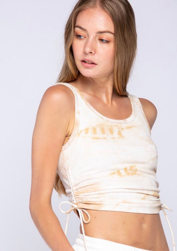 CROPPED RUCHED SIDE TIE TANK TOP - SAND TIE DYE - RETAIL STORE