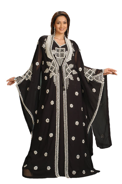 Islamic Kaftan Dress With Pearl Beaded Work - Maxim Creation