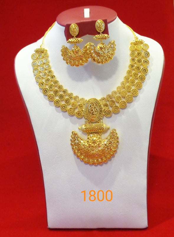 CHOKER STYLE GOLD PLEATED TRADITIONAL PENDANT NECKLACE SET 1800 - Maxim Creation
