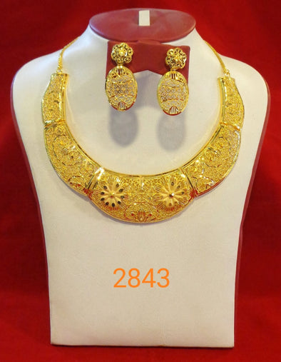 HANDCRAFTED FLORAL DESIGN DUBAI BRIDAL NECKLACE SET WITH EARRING 2843 - Maxim Creation
