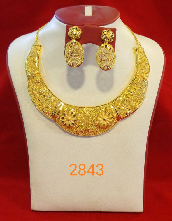 HANDCRAFTED FLORAL DESIGN DUBAI BRIDAL NECKLACE SET WITH EARRING - Maxim Creation