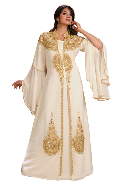 Cream Moroccan Caftan With Golden Beads - Maxim Creation