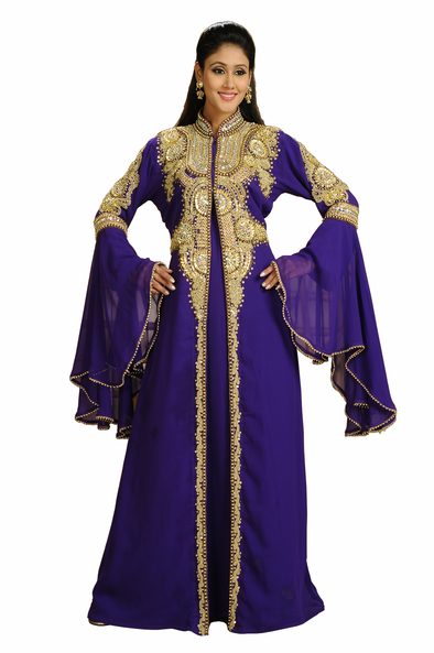 Victorian Party Wear Kaftan with Bell Sleeve - Maxim Creation