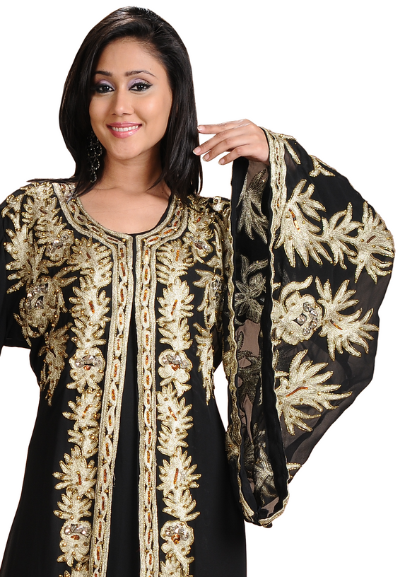 African Kaftan Gown With Golden Beads - Maxim Creation