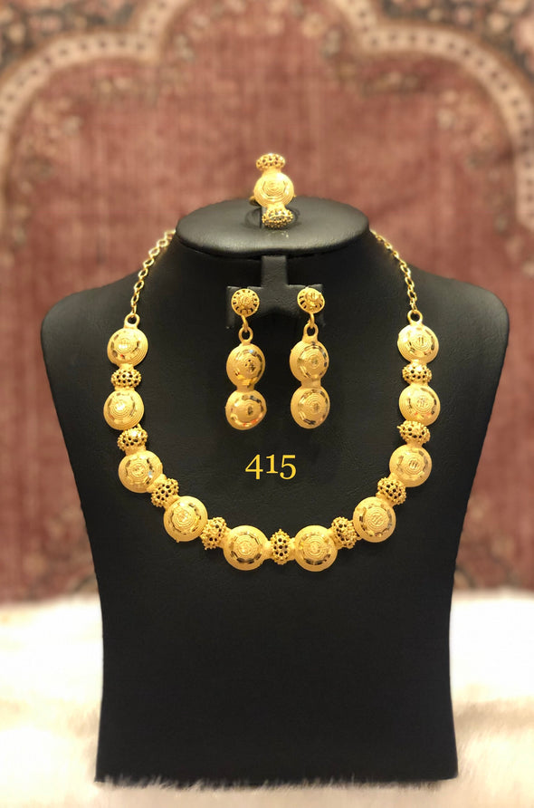 GRACIOUS GOLD PLATED TRADITIONAL NECKLACE SET 415