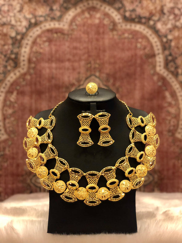 STUNNING GOLD PLATED SAND CLOCK NECKLACE SET 423 - Maxim Creation