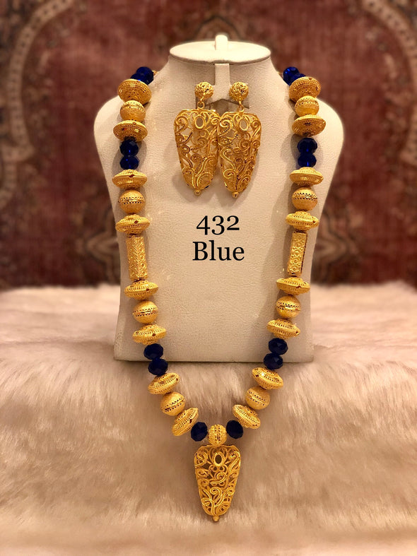 COMBINATION OF GOLD AND BLUE BEADS WITH OVAL PENDANT NECKLACE SET 432A - Maxim Creation