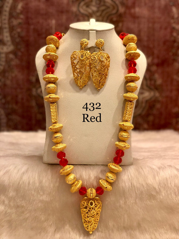 COMBINATION OF GOLD AND RED BEADS WITH OVAL PENDANT NECKLACE SET 432B